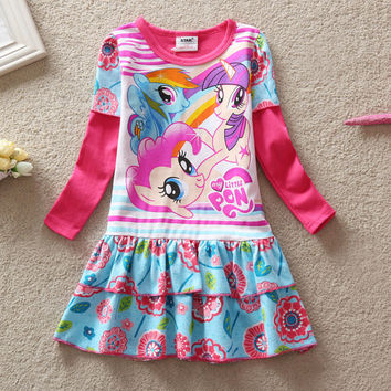 Baby Girls Summer Dress Long Sleeve Children Clothes Cartoon Printed Little Pony Pattern Casual Girl Kids dress