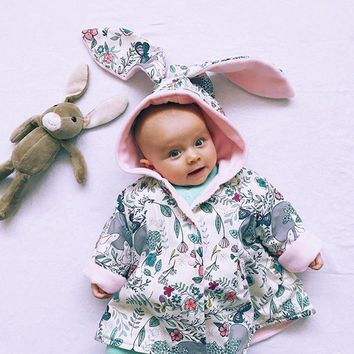 ARLONEET Newborn Baby Coat Jackets Toddler Boys Girls Rabbit Cartoon Print Hooded Cloak Clothes Autumn Winter Warm Thick BFOF