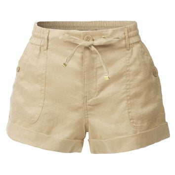 LE3NO Womens Casual Loose Pleated Shorts with Elastic Waist