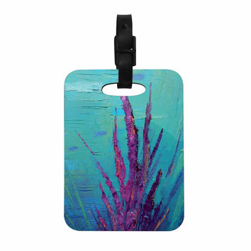 "Carol Schiff ""Key Largo Coral Reef"" Teal Purple Painting Decorative Luggage Tag"