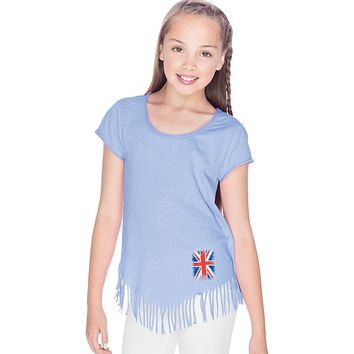 Girls Union Jack T-shirt Flag Bottom Print Fringe Tee