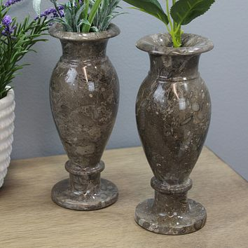 """Natural Geo Gray Decorative Handcrafted 6"""" Marble Vase (Set of 2)"""