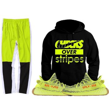Yeezy 350 Boost Frozen Semi Yellow Sneaker Outfit - CHECKS - Track Pants + Hoodie