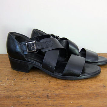 90s black leather sandals buckled leather peep toe sandals gladiator sandals vintage strapy black sandals boho hipster edgy sandals 8.5