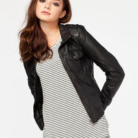Full Tilt Hooded Womens Washed Faux Leather Jacket Black  In Sizes