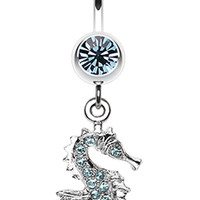 Sparkling Seahorse Dangle Belly Button Ring