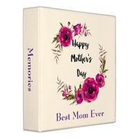 Fuchsia Poppies Floral Wreath Happy Mother's Day 3 Ring Binder