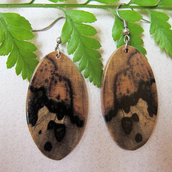 Black and White Ebony Exotic Wood Earrings Handmade ExoticWoodJewelryAnd ecofriendly