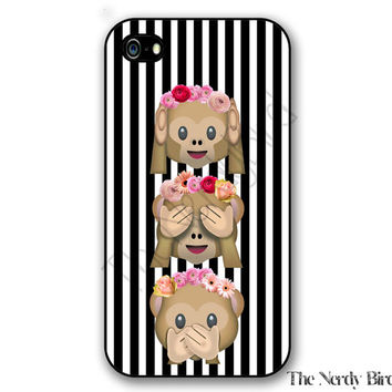 Monkey Emoji with Flowers on a Striped Background iPhone 4, 5, 5C, 6 and 6 plus and Samsung Galaxy s3, s4, and s5 Phone Case