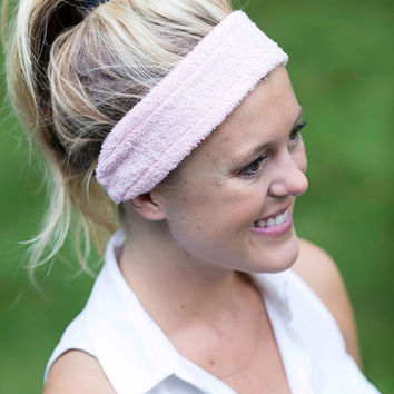 Handmade Terry Cloth Cotton Spa Headband. Baby Pink with Gray and White Chevron