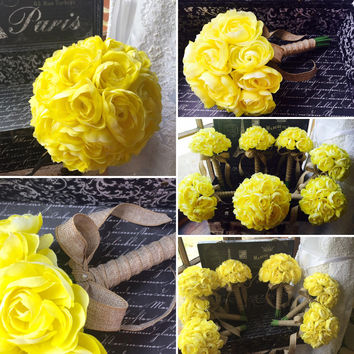 Yellow Ranunculus 17 Piece Wedding Flower Set, Yellow Bridal bouquet, Yellow Bouquet, Wedding Bouquet, Rustic Bouquet, Yellow Wedding