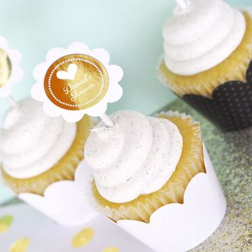 Personalized Metallic Foil Cupcake Wrappers & Cupcake Toppers (Set of 24) - Baby