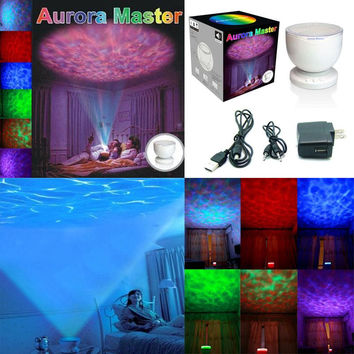 2016 Night Light Power Bank Multi Color Colorful Aurora Master Ocean Wave Projector LED Decoration Kid Children Gift Luminaria