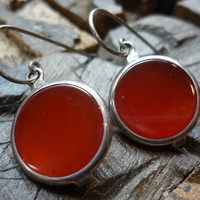 sterling silver carnelian earrings Sunset by Ellishshop on Etsy