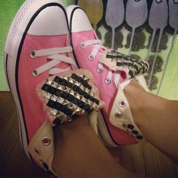 custom studded pink converse all star high tops chuck taylor all colors sizes