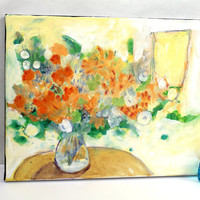 "Yellow Abstract Floral Painting Original on Small Canvas ""Sunny Bouquet in Vase"""