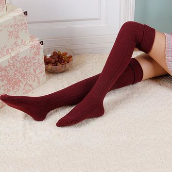1 Pair Sexy Women's Stockings Fashion Women Cotton Knitted Crochet Thigh High Stockings Over The Knee socks For Lady Girls