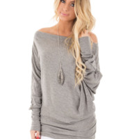 Fall and winter long-sleeved word shoulder gray top blouse shirt