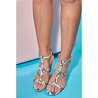 Fear Me Not Strappy Heels (Snake Print)