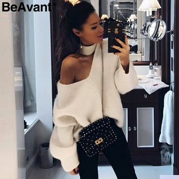 BeAvant Cold shoulder halter knitted sweater female Casual winter sweater women knit Blue pullover jumper pull femme