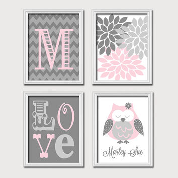 Monogram Child Name Pink Gray Grey Owl Chevron Flower LOVE Child Nursery Print Artwork Set of 4 Prints Girl WALL Decor ART Picture
