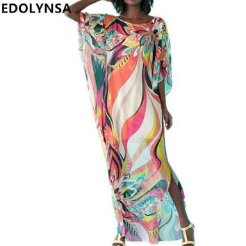DCCKL6D Beach Dress Kaftan Pareo Sarongs Sexy Cover-Up Chiffon Bikini Swimwear Tunic Swimsuit Bathing Suit Cover Ups Robe De Plage #Q97