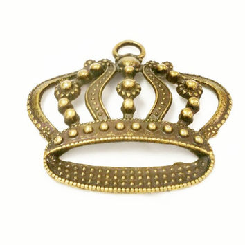 5 Large Crown Pendants, Princess Crown Charms, Antique Bronze Crown Pendant, Jewelry Making Supplies, Keychain Charms, Necklace Charms