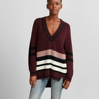 Stripe Oversized Deep V-Neck Tunic Sweater