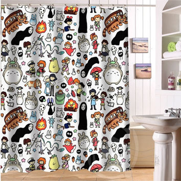 "New All Studio Ghibli Character Totoro custom Shower Curtain Bathroom decor Free Shipping 36x72"" 48x72"" 60x72"" 66x72"""