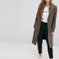 Bershka Dog Tooth Check Car Coat at asos.com
