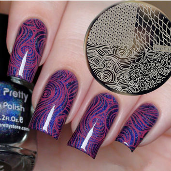 1 Pc Knitting Net Wave Design Pattern Nail Art Stamping Template Image Stamp Nail Plate Qgirl-041
