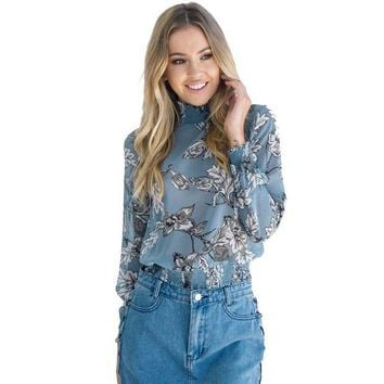 ONETOW Floral Printed Women Chiffon Blouse Top Casual Long Sleeve Turtleneck Street Style Blue Shirt Women Clothing Blusas