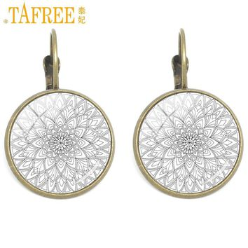 TAFREE New Arrival Clip Earrings Mandala Buddhism Symbol Art Photo Jewelry For Women 2017 Glass Photo Earring Bronze Color CT332