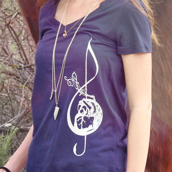 Anatomical Heart Music T Shirt // Festival Clothing - Coachella Top - Yoga Top // Boho Clothing Bohemian Top // Womens V Neck T Shirt