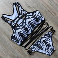 Striped Bikinis Beach Bathing Suit High Neck Bikini Set