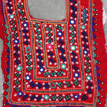 Indian vintage banjara neck yoke. Thread with embroidery work. Banjara front dressing neck yoke. Mirror work and embroidery patch.