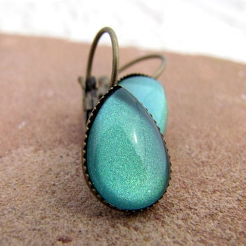 Sea Mist Dangle Earrings - Pale Seafoam and Gold Sparkle Petite Teardrop Earrings