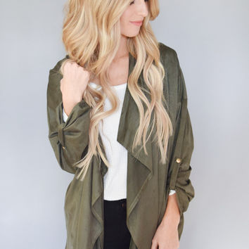 Waterfall Open Jacket Olive