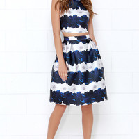 Stem Fatale Blue Floral Print Two-Piece Dress