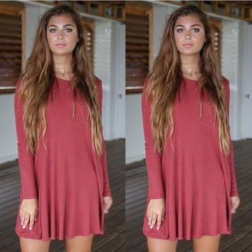 Knitted Flounce Long Sleeve Mini Dress