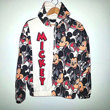 90s Vintage MICKEY MOUSE Hoodie Zip Up DISNEY Sweater disneyland All Over Print Size M