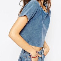 ASOS Crop T-Shirt In Denim Look