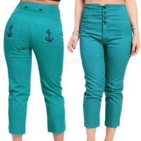 Steady Clothing Teal Anchor Capri Pants | Rockabilly | Pin Up | Retro