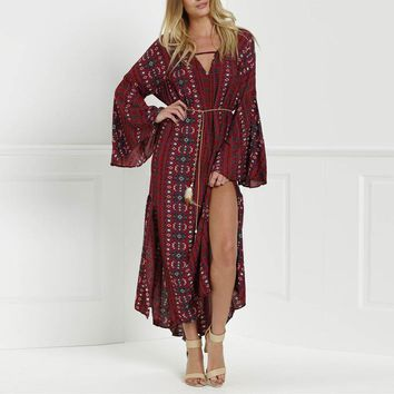 2018 Summer Beach Bohemian Long Dress Women Casual Sexy V Neck High Split Maxi Dress Print Long Sleeve Boho Dress Vestidos