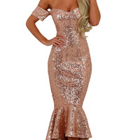 Apricot Sweetheart Off Shoulder Hi-lo Mermaid Sequins Party Dress