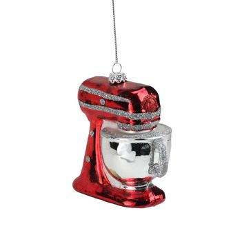 """3.75"""" Red and Silver Kitchen Stand Mixer Appliance Christmas Ornament"""