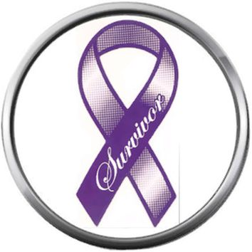 Cancer Purple Survivor Ribbon Hope For All Cancer Support Cure Awareness 18MM - 20MM Snap Jewelry Charm