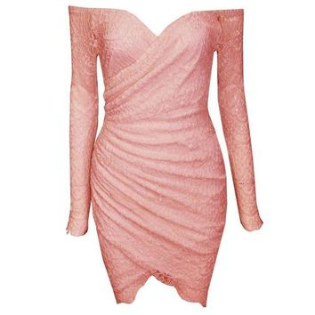 DCCKIHN Clearance Sale Sexy Off The Shoulder Sheath Lace Dresses Women Summer Strapless Ruched Lace Pure Color Bodycon Women Dress