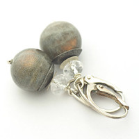 Labradorite Earrings, Labradorite Gemstone, Green Flash Gemstone Earrings, Swarovski Crystal, sterling silver