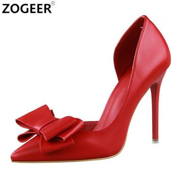 Hot 2018 Spring Women Pumps Sweet Bowknot High Heels Shoes Pink White Red Black Wedding Shoes Hollow Pointed Stiletto Elegant